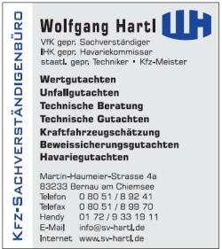 Sponsor TSV Bernau Fußballabteilung - Kfz-Sachverständigenbüro Wolfgang Hartl