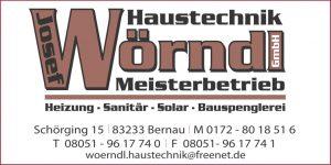 Sponsor TSV Bernau Fußballabteilung - Wörndl Haustechnik